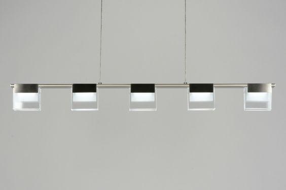 hanglamp 88971: modern, design, glas, helder glas, mat glas, staal ...