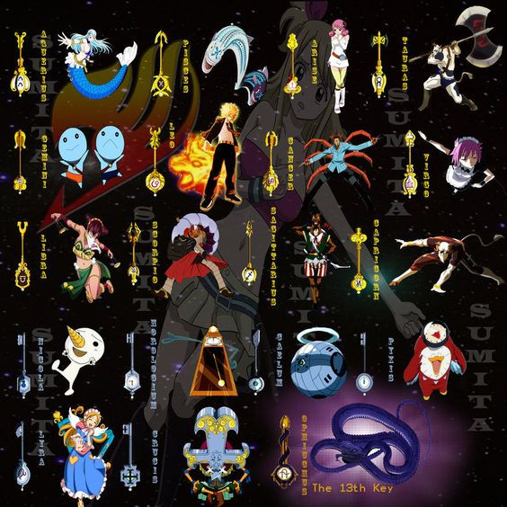 Fairy Tail.  Lucy's Key's.  All 12 key's, plus the 13th key.  WOW!  Google Image Result for http://th01.deviantart.net/fs70/PRE/i/2013/089/0/c/fairy_tail_celestial_spirits_by_enchantic_erza-d5zrs38.jpg