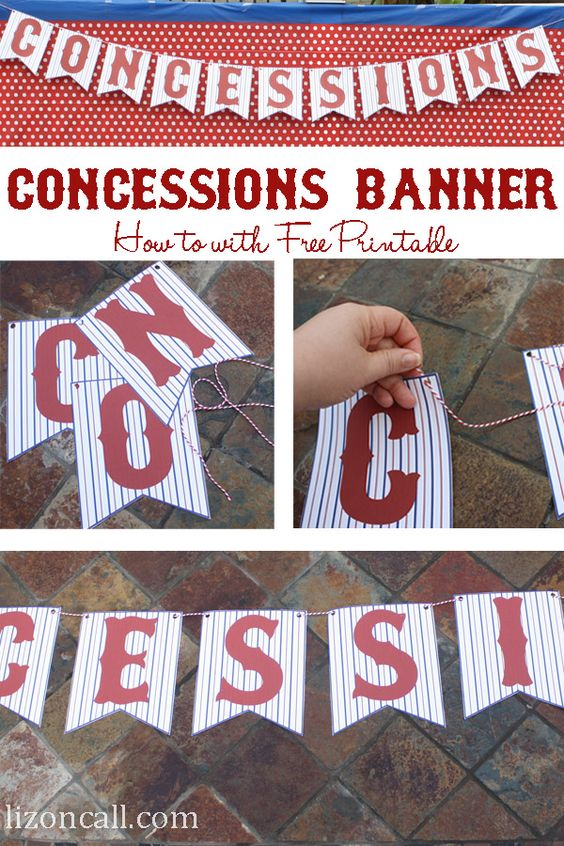 free printable concessions stand banner perfect for a #baseballparty - Liz on Call