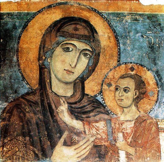 """Panayia and Christ Fresco  Madonna della Bruna Date: 1270.  Artist: """"Maestro della Bruna,"""" perhaps Rinaldo da Taranto  Cathedral of S. Maria della Bruna, Matera, Italy"""