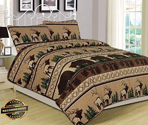 Werrox King Queen Or Twin Quilt Bed Set Bear Elk Log Cabin Lodge