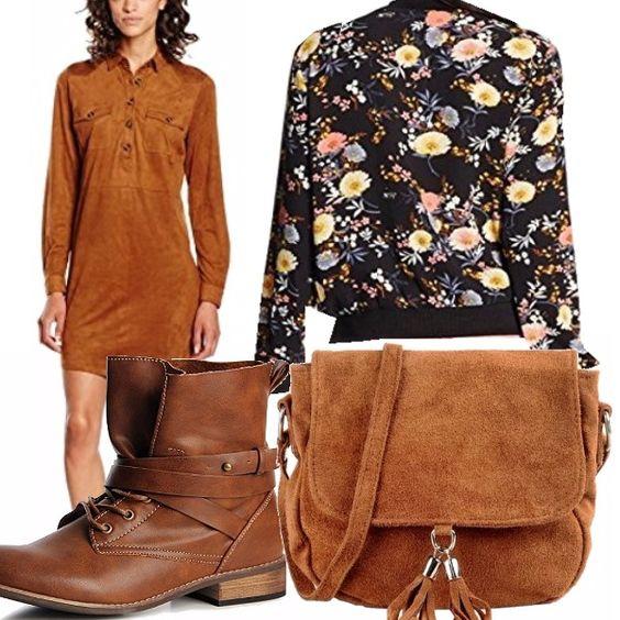 L'autunno sta arrivando, riponiamo tutti i vestiti estivi, che dilemma! Niente facce tristi, indossiamo colori, come questo delizioso vestitino marrone chiaro, stivaletti comodi con lacci, in cuoio, giubbino fondo nero e stampa floreale, borsa scamosciata!