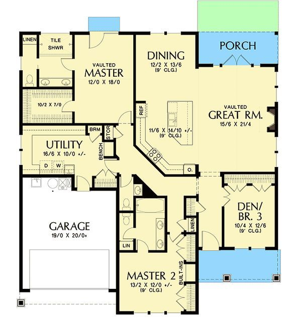 Plan 69691am One Story House Plan With Two Master Suites Best House Plans Master Suite Floor Plan Dream House Plans