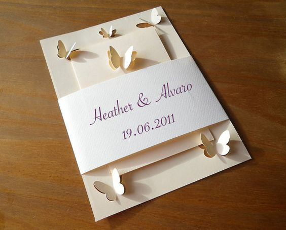 Mama Tita, Wedding Invitations Set with Butterflies, Papercut, $10.00, etsy: