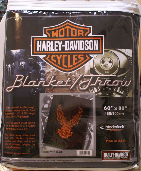 NEW Collectable HARLEY DAVIDSON Royal Plush Throw  by WARMERMAKER, $40.00