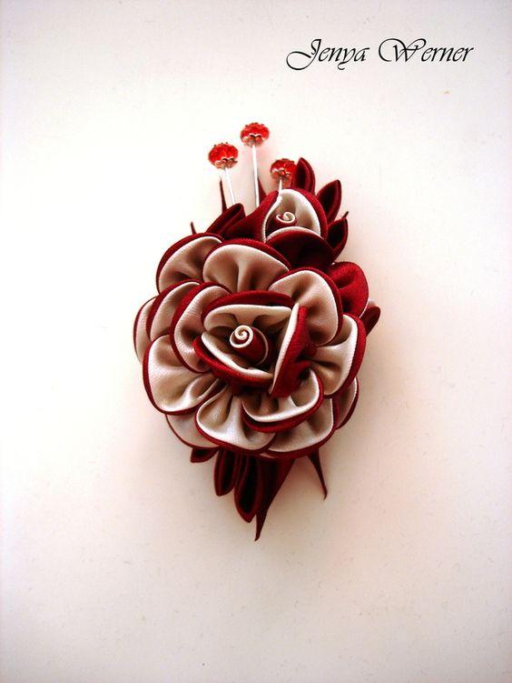 Ansteckbroschen - Brosche Kanzashi - ein Designerstück von Broot bei DaWanda