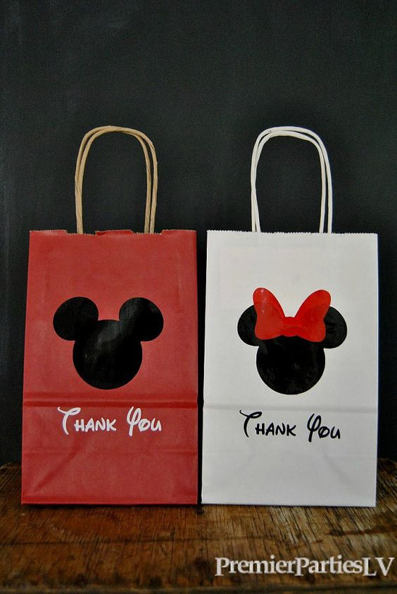 These bags are so cute! Mickey Mouse Minnie Mouse Party Favor Bags  by PremierPartiesLV, etsy