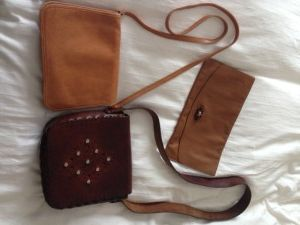My vintage bag collection...the clutch and tan shoulder/cross-body pieces originating from the 70s were inherited from my mum :) I picked up...