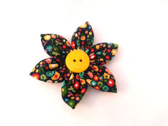 Flower for Dog Collar  Vintage Flowers on Navy by TheEmPURRium, $7.25