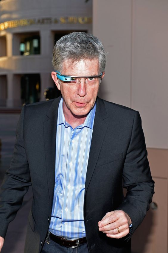 """Pin for Later: Yep, Celebrities Look Just as Awkward Wearing Google Glass Tom Bergeron """"And on next week's episode of America's Funniest Home Videos . . . """""""