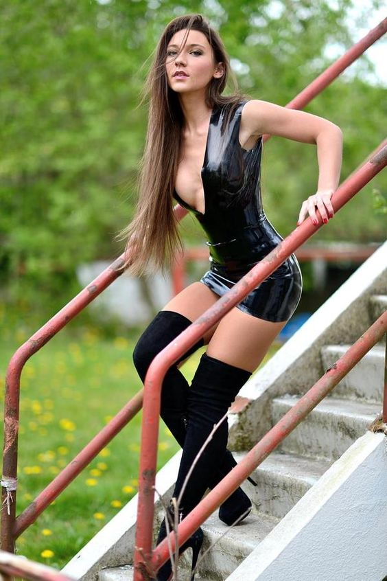 hot latex dress and high boots