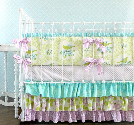 We love @Lottie Da Baby's amazing crib bedding. We can't get enough of these ruffly crib skirts! #PNapproved