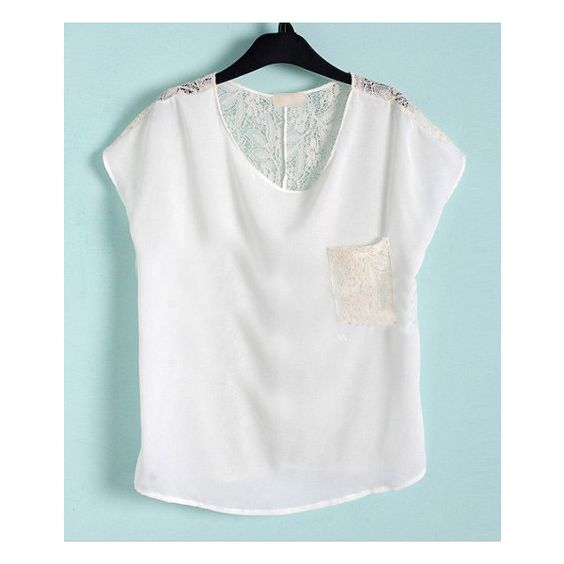 White Floral Lace Back and Pocket Short Sleeve Chiffon Blouse ❤ liked on Polyvore