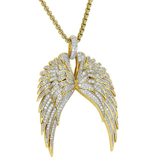 Guardian Angel Wings Pendant Cherub Guidance 18K Gold Plate