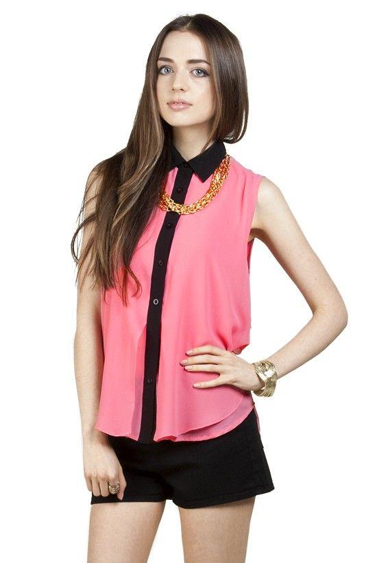 Pastel Sleeveless Shirtwaist - Pink - New Apparel - NEW