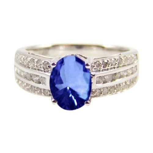 12 Carat Ceylon Blue Sapphire Diamonds Ring Triple Shank In 2020 Blue Sapphire Diamond Ring Diamond Sapphire Engagement Ring Sapphire Diamond Ring