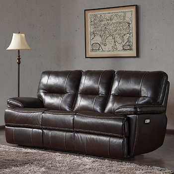 Tomlin Leather Power Reclining Sofa Best Leather Sofa Brown
