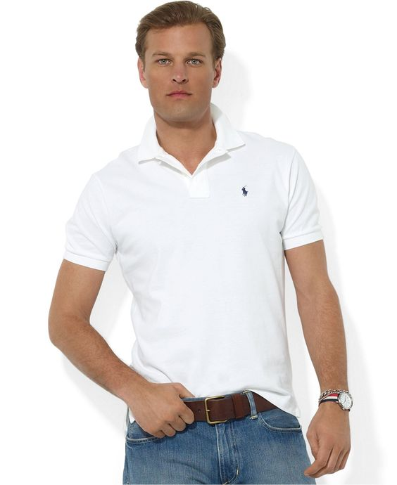 Polo Ralph Lauren Polo, Core Solid Classic Fit Mesh Polo - Polos - Men - Macy\u0026#39;s Color (white) size xl