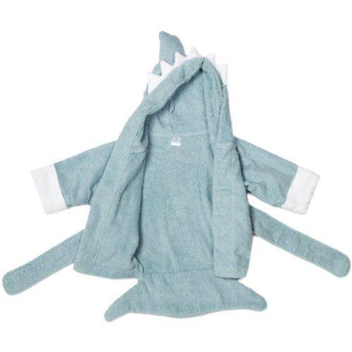 "Baby Aspen Baby ""Let the Fin Begin"" Blue Terry Shark Robe, Blue, 0-9 months"