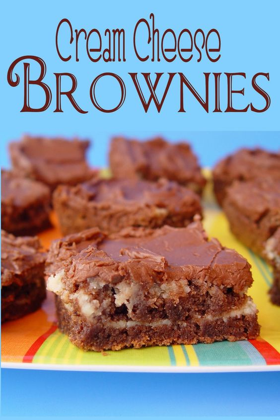 Cream Cheese Brownies with Chocolate Frosting. So moist and scrumptious
