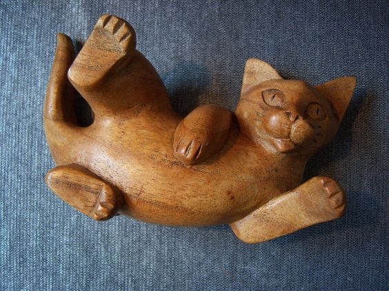 Hand Carved Wooden Cat: