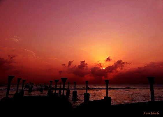 Sunset at the Rails... Calicut Beach, Kerala, India   by aroon_kalandy, via Flickr
