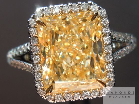 This U-V radiant cut diamond looks closer to Fancy Intense Yellow now set.