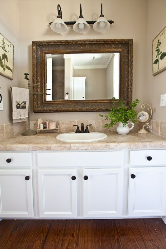 Farmhouse bathroom updates towels flower and vanities - Farmhouse bathroom vanity mirror ...