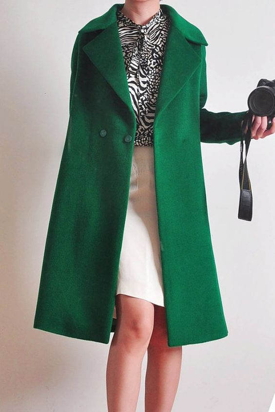 Green Alpaca Wool Coat Oversized Shawl Collar Lady Long Winter