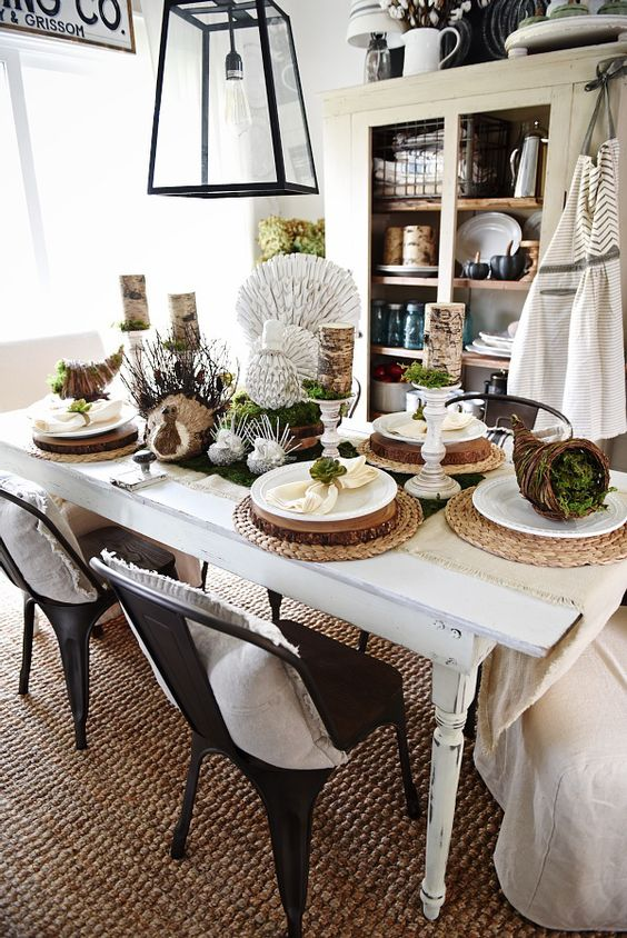 Rustic natural thanksgiving table chairs