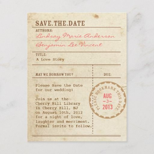 Library Card Save The Date Zazzle Com Save The Date Library Card Gifts For Librarians