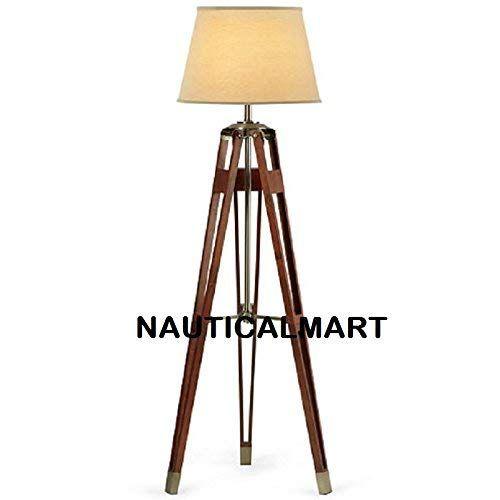 Nauticalmart Brass Finish Tripod Floor Lamp Stand With Sh Https Www Au Dp B07gkv71q7 Ref C Tripod Floor Lamps Floor Standing Lamps Tripod Floor