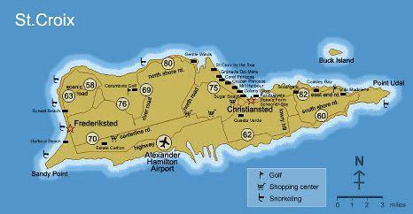 Map of St. Croix, USVI