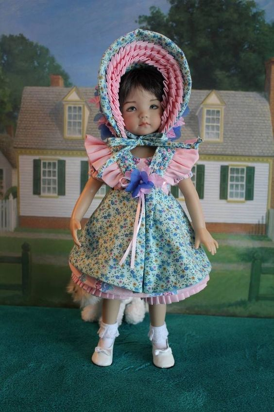 "Adorable 4-Piece Country Dress Ensemble Four Your Dianna Effner 13"" Doll"