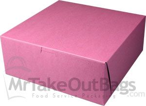 """10 x 10 x 4"""" Pink Strawberry Tinted Cupcake / Deep Pie Boxes 