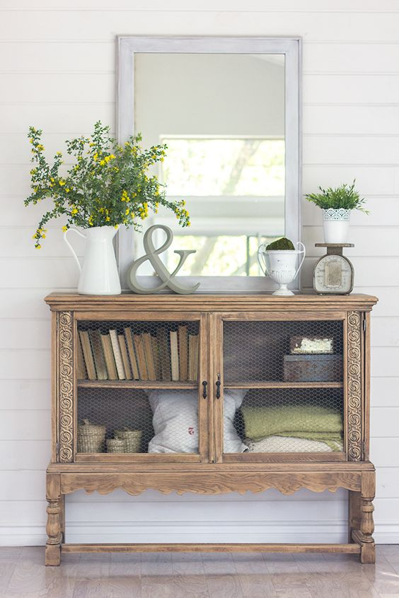 Spring Home Tour - vintage cabinet decorating: