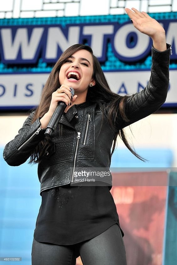 Sofia Carson of Disney's 'Descendants' perform and join fans at Downtown Disney at Disneyland Resort on October 17, 2015 in Anaheim, California.