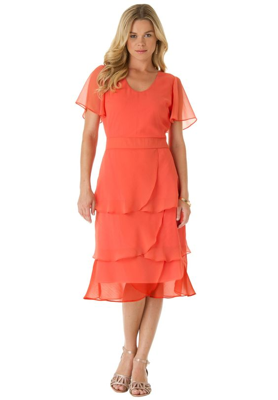 Tiered dress plus size special occasion dresses for Elder beerman wedding dresses