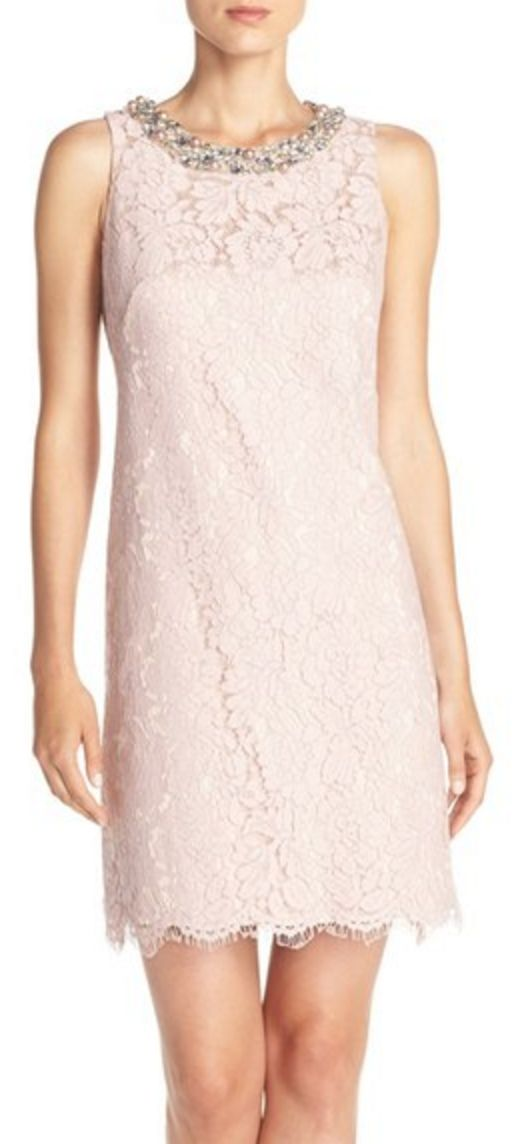 Pale Pink Lace Sheath with Embellished Neckline
