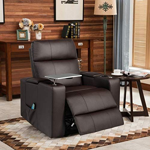 Buy Giantex Theater Recliner Chair W Massage Function Home Theater Seating W Cup Holders Table Tray Backrest Footrest Adjustable Flip Up Armrest Pu Leath In 2020 Single Sofa Chair Home Theater Seating Recliner