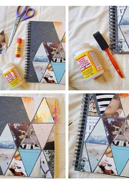 I like this idea of filling a journal page, instead of the cover, with cut out photos in shapes that connect together.: