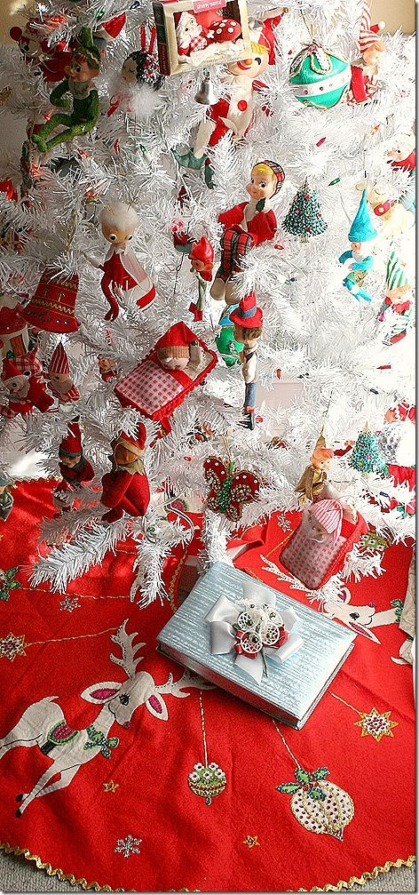 Tree skirts vintage christmas trees and trees on pinterest for White tree red ornaments