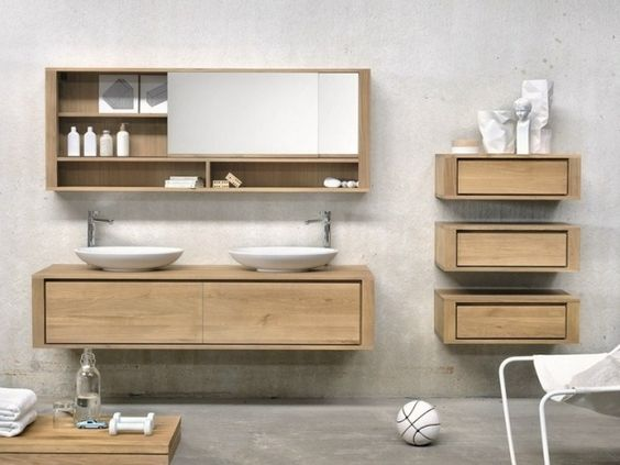 badm bel set aus massivholz spiegelschrank mit seitlichen schubladen ethnicraft badezimmer. Black Bedroom Furniture Sets. Home Design Ideas