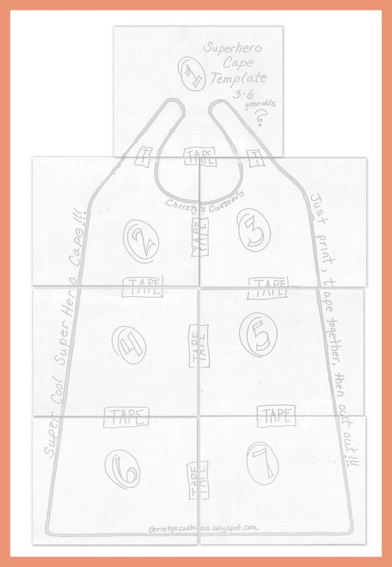 pattern for child's cape   DIY Superhero Capes {Printable Templates Included!!}