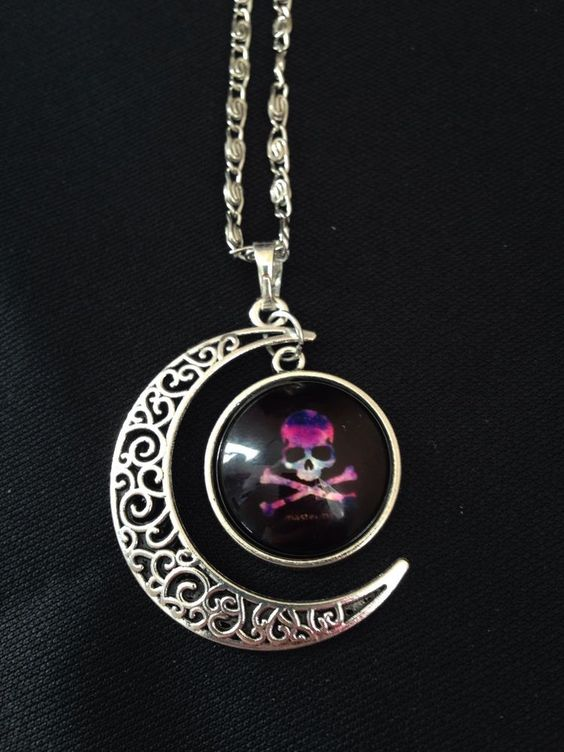 Gothic Steampunk Cabochon Skull Glass Crescent Moon Silver 18  Necklace Pendant