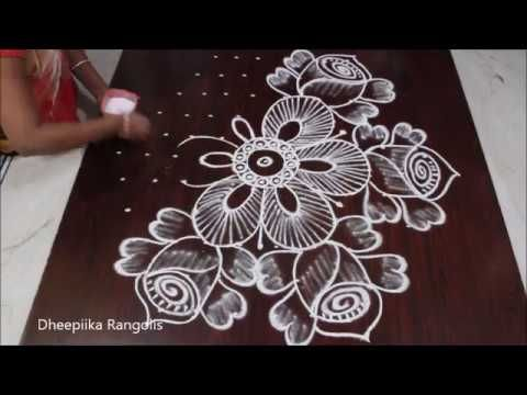 Easy Rose Flowers Rangoli Design Simple Creative Flowers Kolam With Dot 11 6 Rose Buds Muggulu You Rangoli Kolam Designs Rangoli Patterns Rangoli Designs