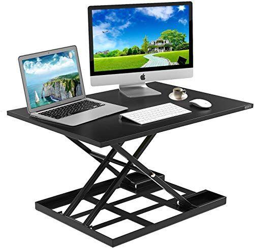 Chic Standing Desk Stand Up Desks Height Adjustable Sit Stand Converter Laptop Stands Large Wide Rising Black Dual Monitor Pc Desktop Computer Riser Table Works