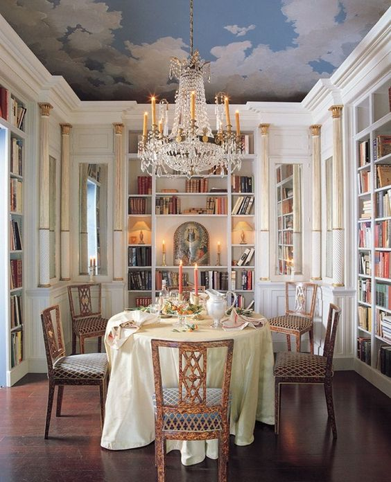 Combined library dining room chandelier sky painted for Dining room library