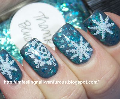 stamped snowflakes over lynnderella's thank blue glitter