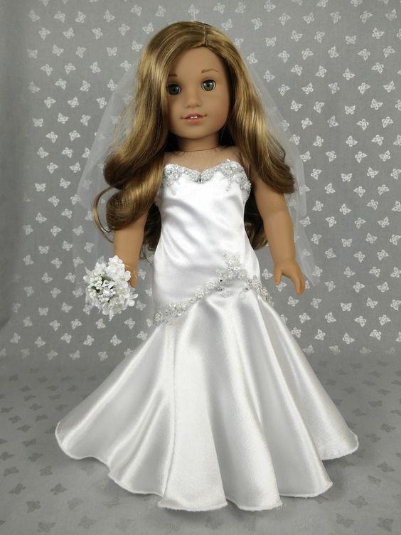 Beautiful wedding dress for american girl doll 02 for American girl wedding dress